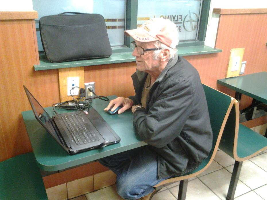Far too old to be living like this, but don't tell him that. He's happy. Told me he lives on $687 a month. He asked me to help him with his computer several times. It was a gift from his daughter.